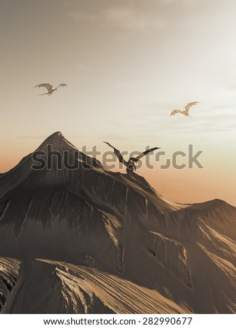 Fantasy illustration of dragons flying around a snowy mountain peak at sunset, 3d digitally rendered illustration - stock photo