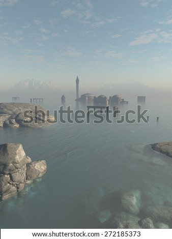 Fantasy illustration of the drowned ruins of the lost city of Atlantis in the ocean, 3d digitally rendered illustration - stock photo