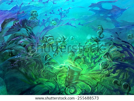 Fantasy illustration of underwater scene with mermaids discovering a dangerous radioactive barrel  - stock photo