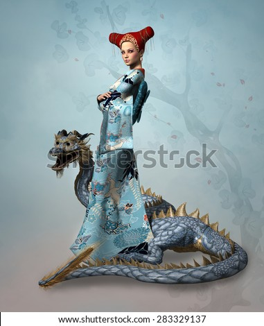 Fantasy lady with dragon - stock photo