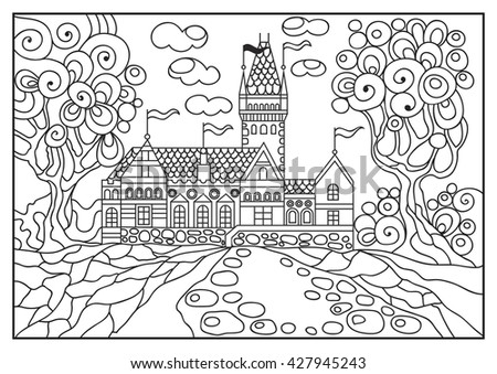 Fantasy landscape. Fairy tale castle, old medieval town.  T-shirt print. Album cover. Coloring book page. Suitable for invitation, flyer, sticker, poster, banner, card, label, cover, web.   - stock photo