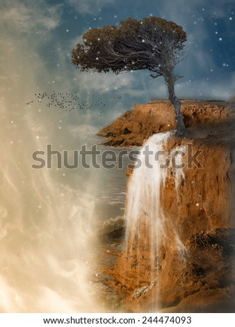Fantasy Landscape in a cliff with tree - stock photo