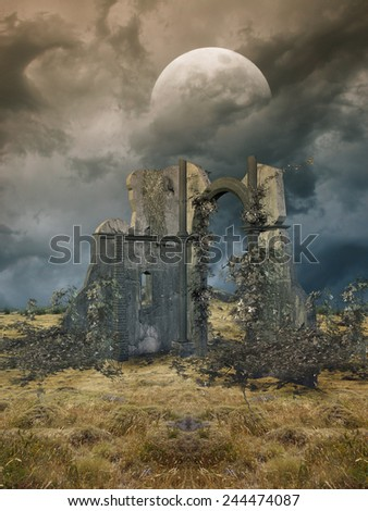 Fantasy Landscape in a field with ruins - stock photo