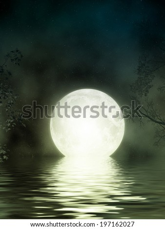 Fantasy Landscape in the lake with big moon - stock photo