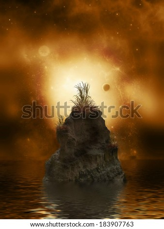 Fantasy Landscape in the ocean with big rock - stock photo