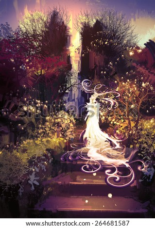 fantasy landscape painting of beautiful goddess up the stairs - stock photo
