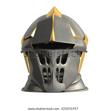 fantasy medieval helmet 3d illustration on a white background - stock photo
