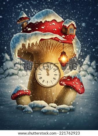 Fantasy mushroom house with a clock  - stock photo