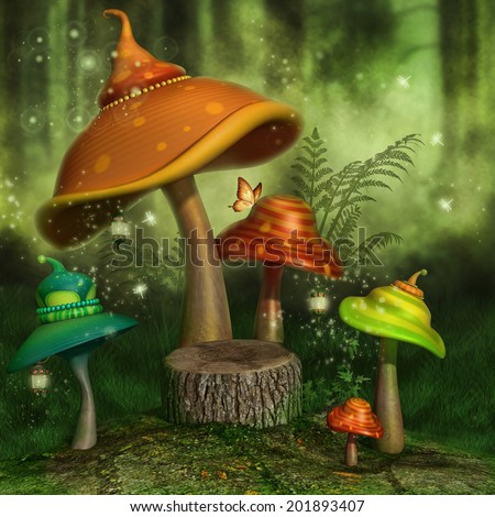 Fantasy mushrooms with lanterns and butterflies in a green forest - stock photo
