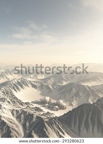 Fantasy or Science Fiction illustration of a lost city surrounded by snow covered mountains, 3d digitally rendered illustration - stock photo