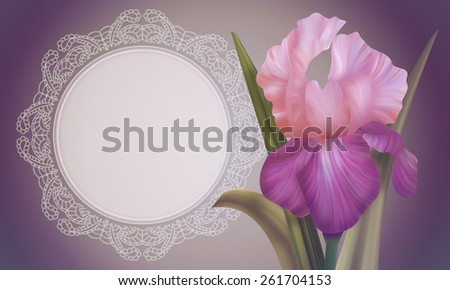 Fantasy Pink Iris with vintage lace for design of posters, banner, birthday cards, greetings, cover, magazines and other. Original style of unique flowers. Beauty and fresh spring collection.  - stock photo