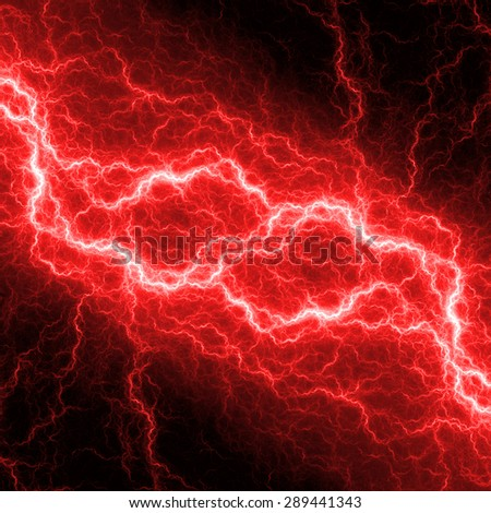 Fantasy red lightning, electrical background - stock photo