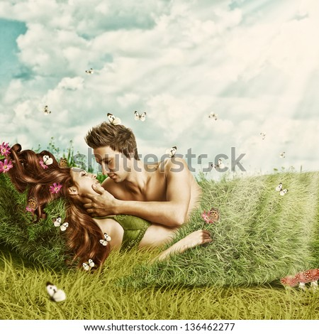 Fantasy romantic collage. Loving sexy couple  lying in a bed of grass on meadow outdoor in summer season. Tender Lovers - stock photo