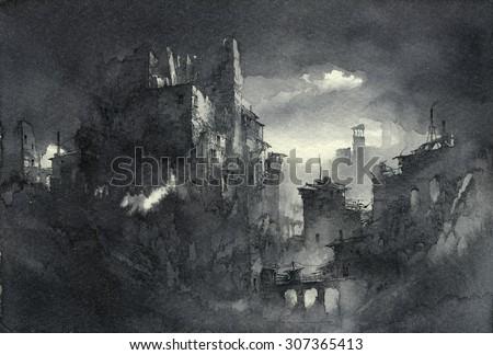 Fantasy ruins - stock photo