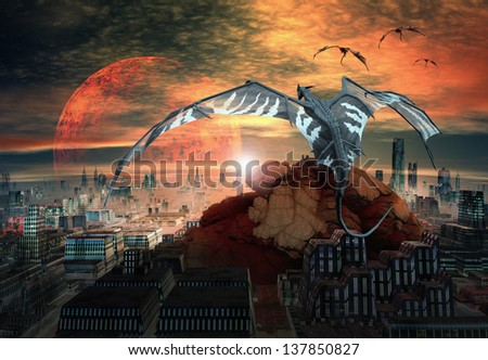 Fantasy Scene With Dragons Hovering Over A City - stock photo