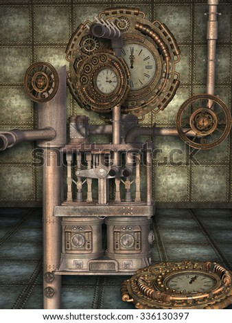 Fantasy scene with steam punk style - stock photo