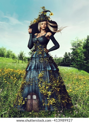 Fantasy scenery with a woman with flowers and ivy on a spring meadow. 3D illustration. - stock photo