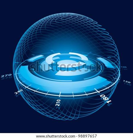 Fantasy Space Navigation Sphere. Rasterized Version - stock photo