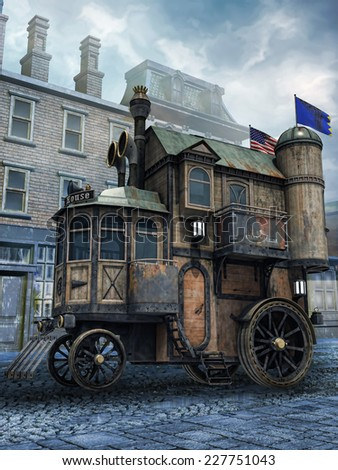 Fantasy steam house on wheels in an old town - stock photo