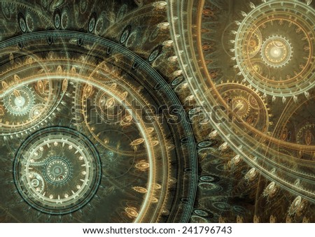 Fantasy steampunk design, abstract mechanical background made of fractal cogwheels - stock photo