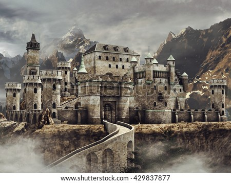 Fantasy stone caste with a bridge in the mountains. 3D illustration. - stock photo