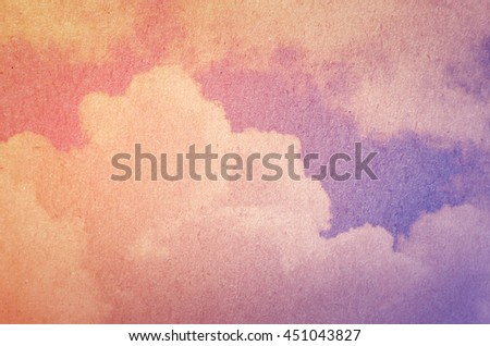 Fantasy sun and cloud background with a pastel violet colored gradient on mulberry paper texture - stock photo
