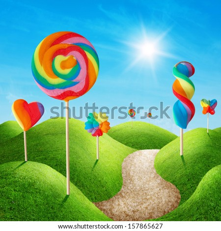 Fantasy sweet candy land with lollies - stock photo
