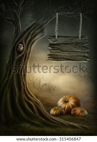 Fantasy tree in the dark forest - stock photo