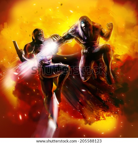 Fantasy warriors fight. Scifi fantasy warrior soldiers fighting with guns and armored suits. - stock photo