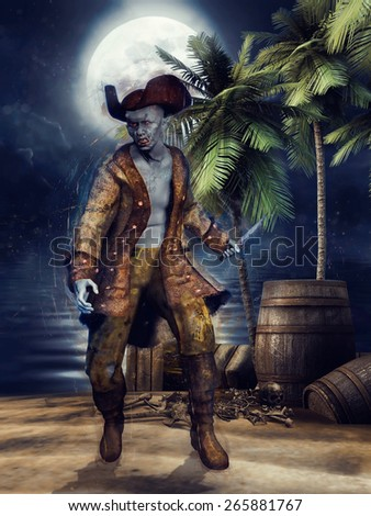 Fantasy zombie pirate on a beach with palm trees, standing by barrels and crates - stock photo
