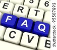 FAQ Computer Keys In Blue Showing Information And Answer - stock photo