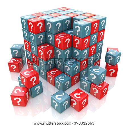 FAQ cube with a question marks - 3D rendered illustration - stock photo