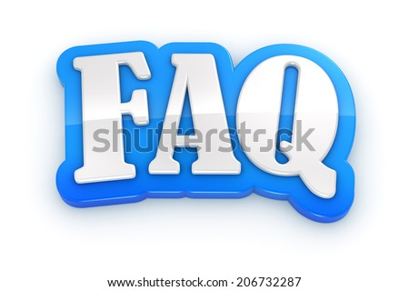 FAQ Frequently Asked Questions 3D word on white background. Clipping path included. - stock photo