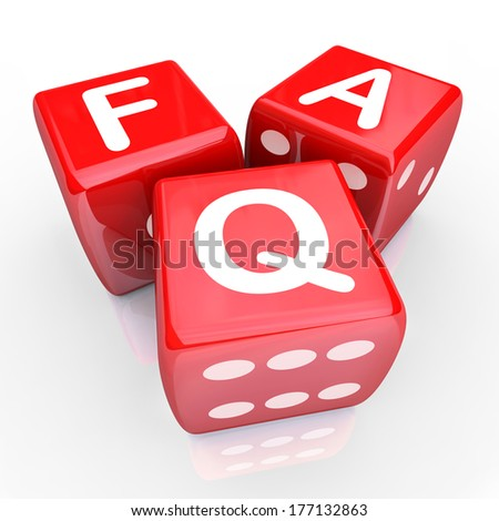 FAQ Frequently Asked Questions Letters 3 Red Dice - stock photo