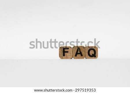 faq , frequently asked questions - text on white background - stock photo