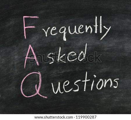 FAQ ,Hand writing with white chalk on blackboard. - stock photo