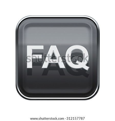 FAQ icon glossy grey, isolated on white background - stock photo