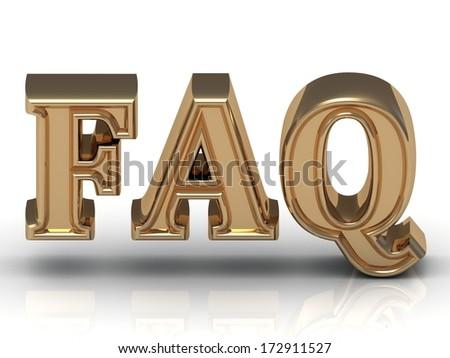 FAQ Inscription golden letter on white background - stock photo