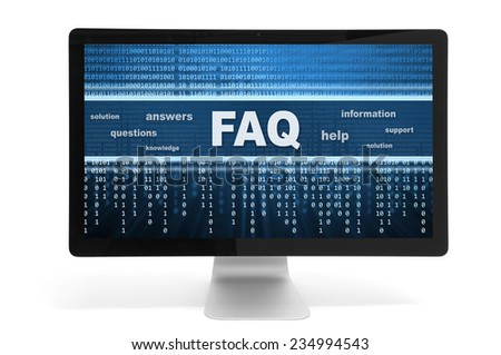 faq message on a computer monitor. Isolated on white background - stock photo