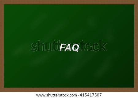 FAQ on blackboard background - stock photo