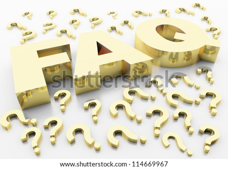 faq question marks that represent the value of gold and gold-plated with a reflective writing on a white background - stock photo