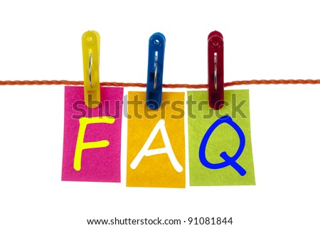 Faq word on laundry hook on white - stock photo