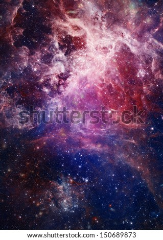 Far being shone nebula and star field against space. - stock photo