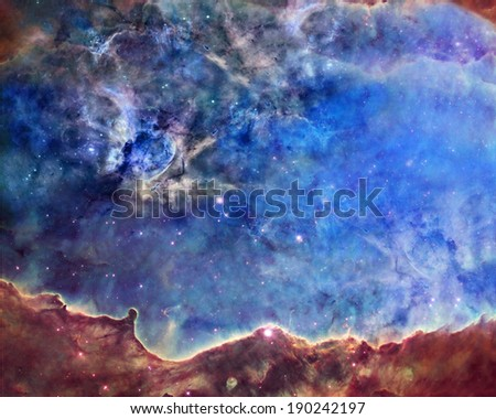 Far being shone nebula and star field against space.Elements of this image furnished by NASA. - stock photo
