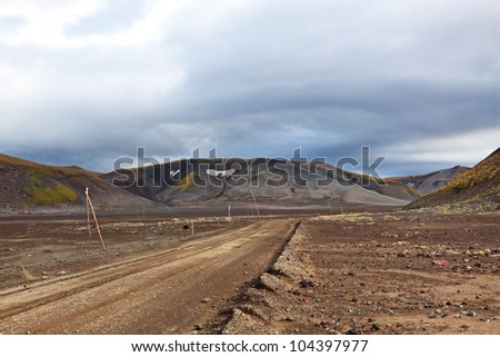 Far east, Russia, Kamchatka, road in mountains near Gorely volcano - stock photo