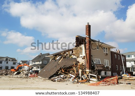 FAR ROCKAWAY, NY - FEBRUARY 28: Destroyed beach house three months after  Hurricane Sandy on February 28, 2013 in Far Rockaway, NY - stock photo