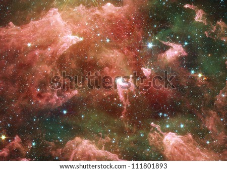 Far space being shown nebula as abstract background - stock photo