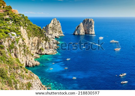 Faraglioni cliffs panorama,and the majestic Tyrrhenian sea,Capri island,Italy,Europe - stock photo