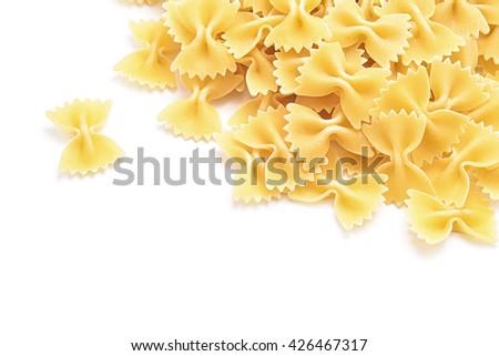 farfale Italian pasta isolated on white - stock photo