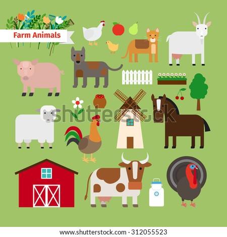 Farm animals and elements - stock photo